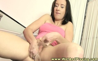 way-out pee fetish sweetheart oozes pee on her