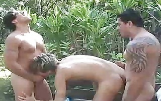 outdoor twink trio with homosexual paramours