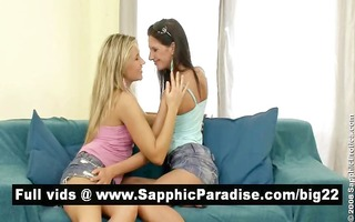 angelic brunette hair and blonde lesbos giving a