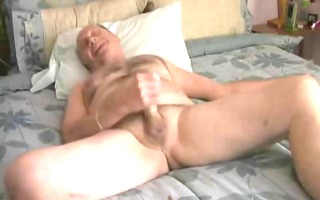 grandad jerk and cum in his ottoman