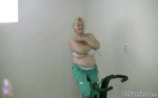 blond granny with large boobs dances nude part1