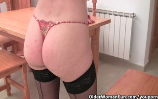 granny in dark nylons is dildoing her unshaved