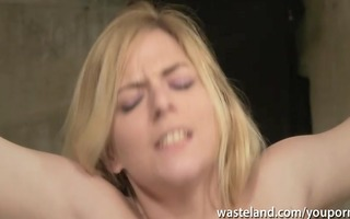 her body is pinched and nipp clamped in advance