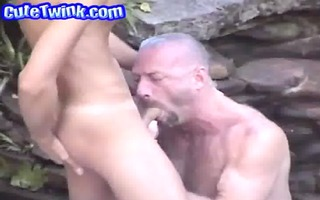 daddy lets youthful guy engulf his prick