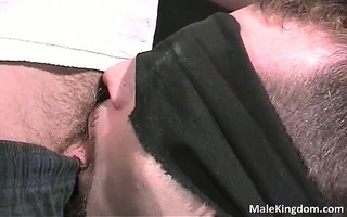 concupiscent fastened chap is half undressed and