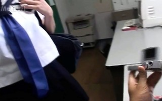 hardcore oriental pussy dildoing in office