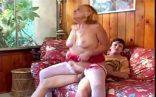 sexually excited grandmother sucks, bonks her