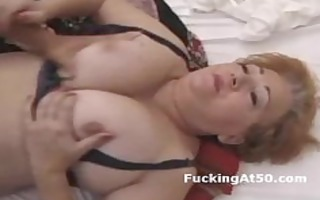 breasty redhead chubby grandma screwed by