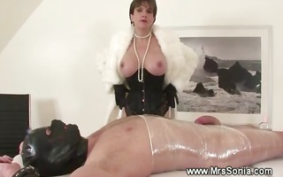 femdom-goddess disrobes during tugjob for her
