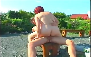 bulky mature redhead fucked outdoors