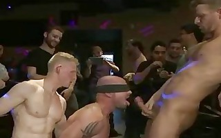 baldheaded homosexual team fuck screwed in bar