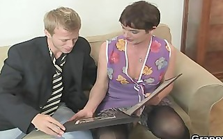 her bushy old cunt receives fucked by inflexible