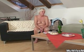 drunk fuckfest with horny granny and her son in