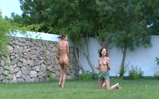french babes watersports in the garden