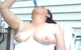 bushy mother id like to fuck masturbating outside