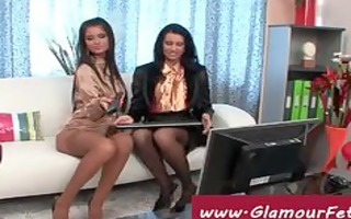lesbos in nylons tempt the cam