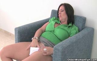 british mum rubs her older cum-hole