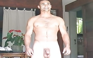 pumped up gay stud disrobes and masturbates