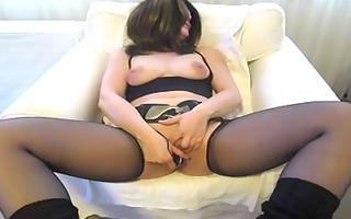 lady in nylons masturbating