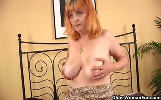 redheaded granny with big whoppers sucks