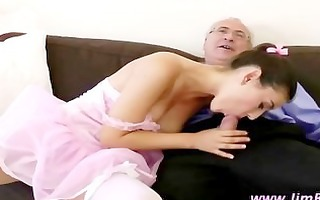 aged chap receives a oral-stimulation from