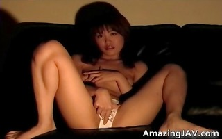 breasty oriental sweetheart masturbating on