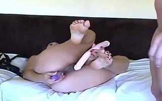 lesbian babes plus dildo plus a web camera equals