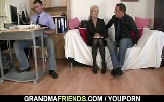men share old blond in the office