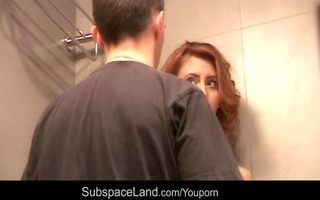 hot redhead bondaged and waxed at the shower