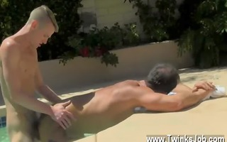 homosexual sex dad poolside prick loving