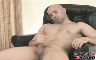 enticing shaved homosexual bucky rubbing his