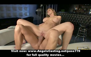 adorable marvelous golden-haired gal doing blow