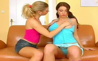 delightsome teen lesbos acquire immodest