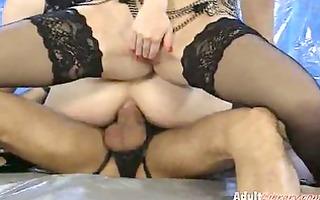 leather underware anal threesome