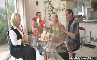 pussy toying and jock riding with her bfs parents