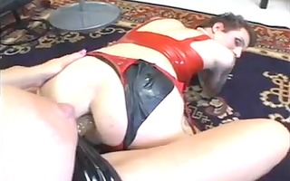 blonde femdom-goddess with 9 shemale bondman part
