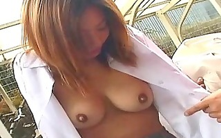oriental non-professional gives outdoor blowjob