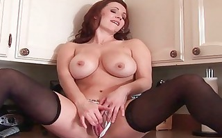 breasty redhead mother i hottie toys her fanny in