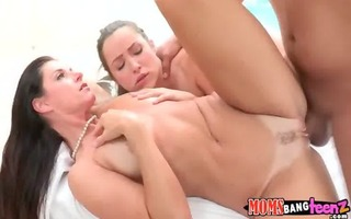 hawt mommy and her daughter fuck favourable lad