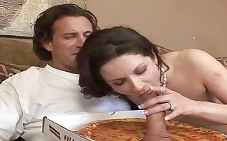 peculiar engulfing pizza sausage for a housewife
