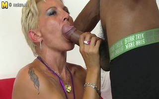 hot white mommy in an interracial fuckfest