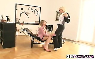 hawt golden-haired lesbos in the office