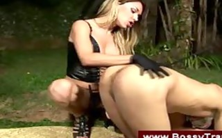 bossy tgirl makes a guy engulf her wang