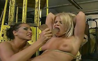 concupiscent blond lesbian acquires fastened and
