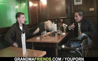 dudes group-sex completely drunk granny