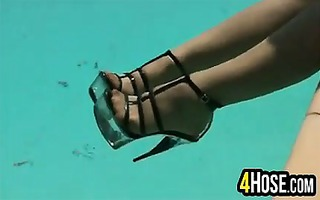 charming feet in the pool