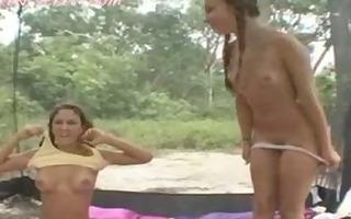 brunette hair nubiles camping