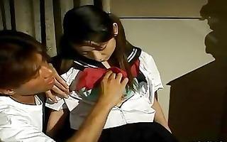 constricted oriental schoolgirl vagina receives