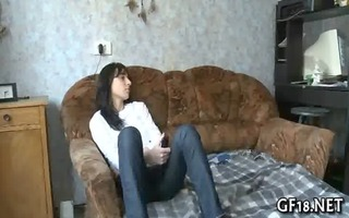 nice-looking brunette gal rides up chunky penis