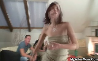 nasty oldie widens legs for son-in-law